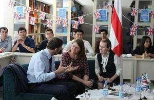 Celebrating England at the National Library of Uzbekistan.