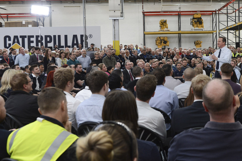 Prime Minister David Cameron speaking to staff at the Caterpillar factory in Peterborough.