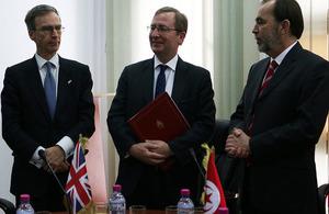 Dr Andrew Murrison, British Ambassador Hamish Cowell and Minister Said Aidi