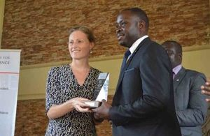 Mary Shockledge presents the Lord Astor Award to Robert Sempala,