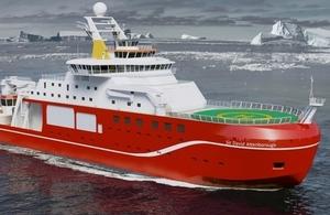 Mock up of new Royal Research Ship the Sir David Attenborough