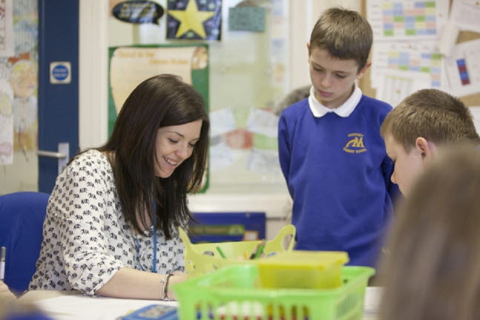 Pupils and teacher talking