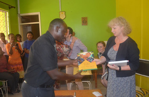 HE Alison Blackburne receives gifts from Hospice Africa