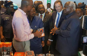 Minister Hurd at the launch of Sierra Leone's Energy Revolution with President Koroma and Energy Minister Macauley. Picture: Nick Hurd/Twitter
