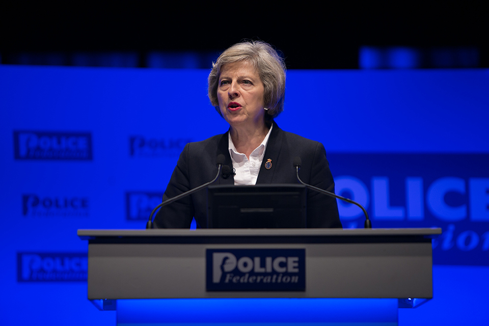 Home Secretary Theresa May speaking at the Police Federation Conference 2016