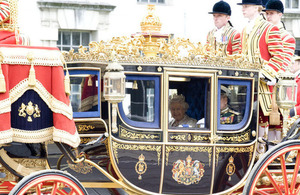 HM Queen travelling in her carriage on the day of the Queen's Speech in Parliament.