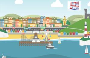 Illustration of a coastal town