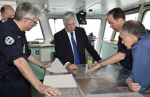 Defence Secretary Michael Fallon on RFA Cardigan Bay. Crown Copyright.