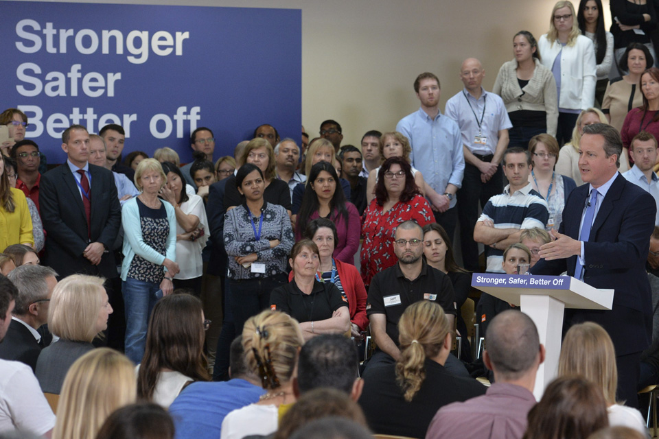 Prime Minister speaking to staff at B&Q headquarters in Eastleigh about the economic shock of a vote to leave the EU.