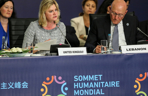 International Development Secretary Justine Greening speaking at the World Humanitarian Summit