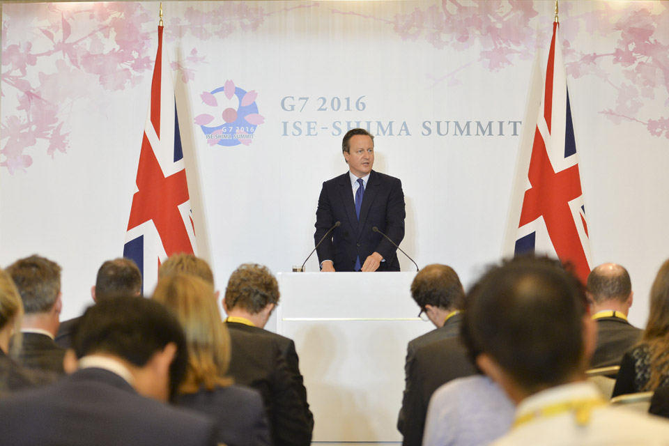 Prime Minister David Cameron giving a statement to the press at the end of the G7 Summit in Japan.