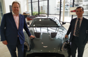 Secretary of State for Wales, Rt Alun Cairns  with Aston Martin CEO Dr Andy Palmer