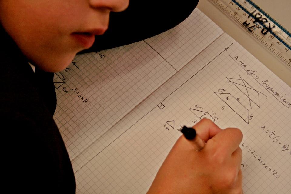 Child doing maths work