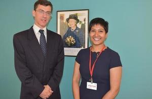 Nushelle De Silva with British High Commissioner in Sri Lanka H E James Dauris