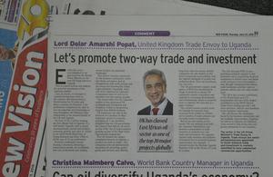 Prime Minister's Trade Envoy visits Uganda