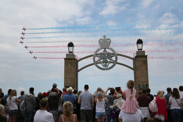 The Red Arrows fly past the Armed Forces Gate in Cleethorpes