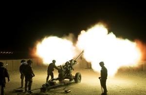 A battery of 105mm Light Artillery guns