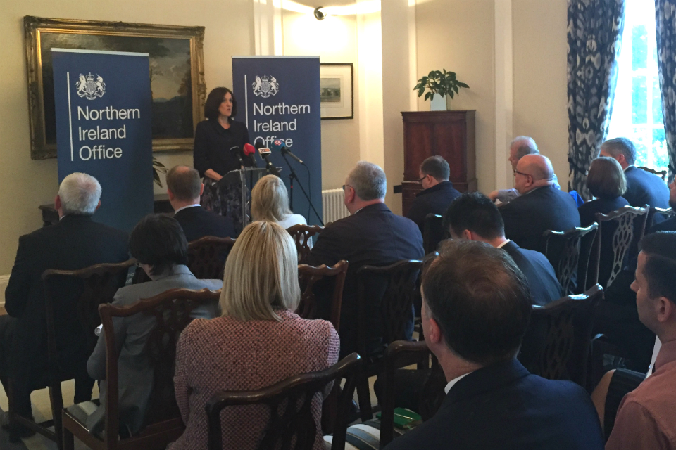 Theresa Villiers speaking on commemorations at Stormont House
