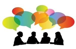 image of figures having conversation