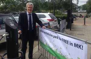 Free electric vehicle parking spaces in Milton Keynes
