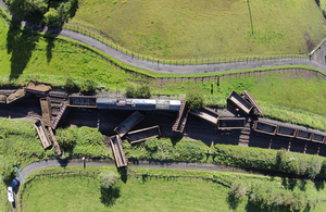 Aerial image of the accident site (image courtesy of Network Rail)