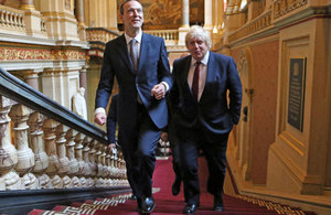 New Foreign Secretary Boris Johnson is welcomed to the Foreign Office by Sir Simon McDonald.
