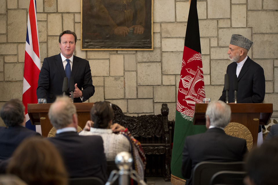 David Cameron gives a joint press briefing with President Hamid Karzai. Crown copyright.