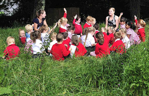 Pupils taking part in an outdoor learning session © Natural Connections