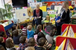 Pupils listening to a story.