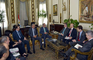 UK Trade Envoy and CEO of of UK Export Finance Louis Taylor meet Egypt Prime Minister