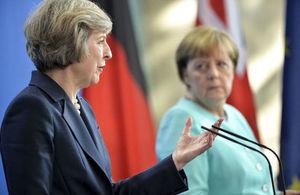 Prime Minister Theresa May speaking in Berlin, alongside Chancellor Merkel of Germany.