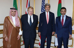 left to right: Minister of Foreign Affairs Kingdom of Saudi Arabia HE Adel Al Jubeir, Foreign Secretary Boris Johnson, US Secretary John Kerry and UAE Foreign Minister HH Sheikh Abdullah Bin Zayed