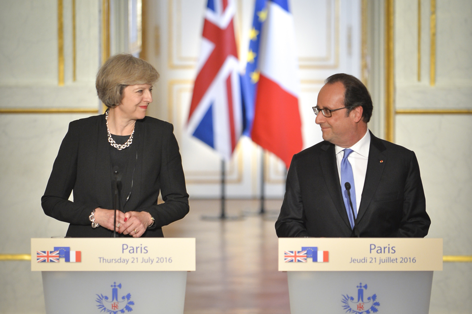 Prime Minister Theresa May speaking in Paris alongside President Hollande of France.
