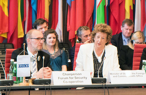 Baroness Anelay delivers a statement to the OSCE