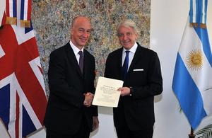 British Ambassador Mark Kent and Argentine Viceminister Carlos Foradori