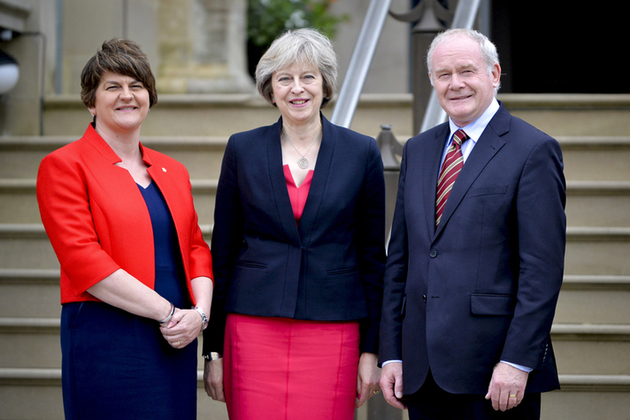 Prime Minister Theresa May with Northern Ireland First Minister Arlene Foster and deputy First Minister Martin McGuinness