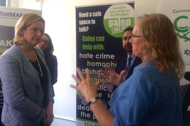 Home Secretary Amber Rudd talking to campaigners working to combat hate crime