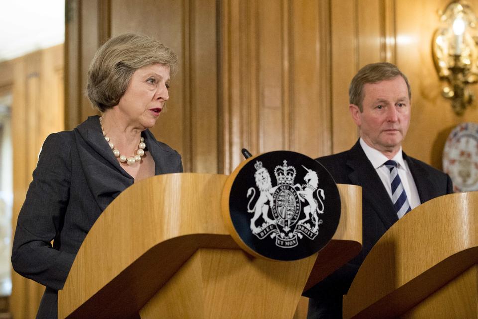 Prime Minister Theresa May speaking alongside the Irish Taoiseach Enda Kenny.