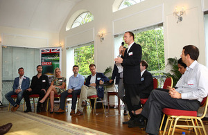 Multipass UK Ltd discussing its business model during an investor panel discussion, British High Commission in Singapore