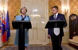 Prime Minister Theresa May speaking alongside Slovakian Prime Minister Fico in Bratislava.
