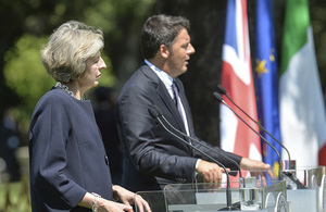PMs Theresa May and Matteo Renzi