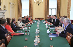 Prime Minister Theresa May at a roundtable meeting with small and medium sized enterprises and trade associations.