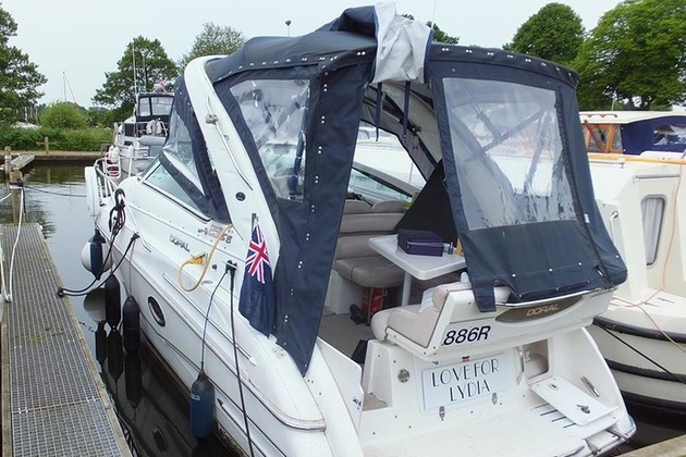 The motor cruiser Love for Lydia alongside a marina after the accident