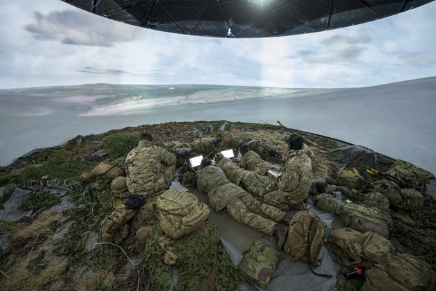 Soldiers in a simulation tent