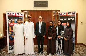 Ambassador Philip Parham with the five Emirati medical students going to Aberdeen University