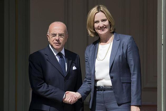 Home Secretary Amber Rudd with French Interior Minister Bernard Cazeneuve