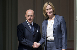 Home Secretary Amber Rudd with French Interior Minister Bernard Cazeneuve