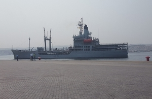 RFA Gold Rover docks at the Port of Lobito, August 2016