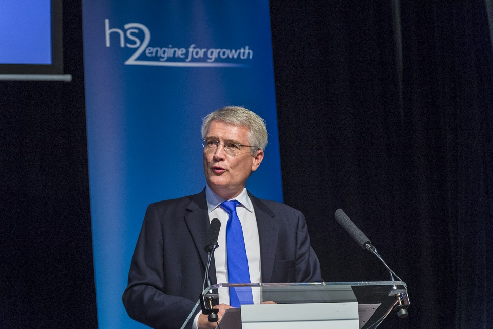 HS2 Minister Andrew Jones delivers a speech.