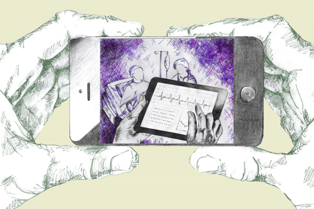 A sketched image of hands holding a smartphone showing an image of a healthcare professional looking at patients notes using an iPad